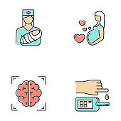 Medical procedures color icons set. Pediatrics and pregnancy care. Brain scan. Blood test. Healthcare aid. Motherhood, parenthood. Nurse with baby. Neuroimaging, MRI. Isolated vector illustrations