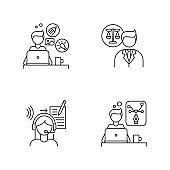Distant workers pixel perfect linear icons set. Creative and graphic design, legal service. Customizable thin line contour symbols. Isolated vector outline illustrations. Editable stroke