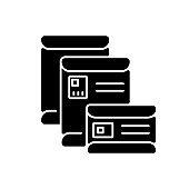 Envelopes black glyph icon
