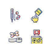 First aid medication RGB color icons set