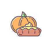 Pumpkin tartlet RGB color icon