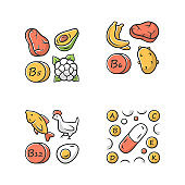 Vitamins color icons set. B5, B6, B12 natural food source. Vitamin pills. Fruits, meat, vegetables. Proper nutrition. Healthy food. Healthcare. Minerals, antioxidants. Isolated vector illustrations