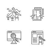 Distant jobs pixel perfect linear icons set. Web research, art and apartment designing, article writing. Customizable thin line contour symbols. Isolated vector outline illustrations. Editable stroke