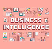 Business Intelligence word concepts banner. Mobile data analyzing. Sales revenue of products. Presentation, website. Isolated lettering typography idea with linear icons. Vector outline illustration