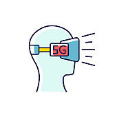 VR headset RGB color icon. Virtual reality glasses. 5G mobile cellular network. Wireless technology. Entertainment. Gaming, 3D experience. Isolated vector illustration