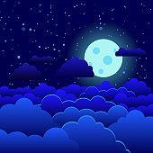 night sky moon illuminates blue clouds