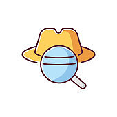 Detective RGB color icon. Traditional movie genre, classic noir film. Murder mystery, crime investigation. Felt hat and magnifying glass isolated vector illustration