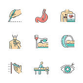 Medical procedures color icons set. Surgery. Endoscopy. Electrocardiogram. Physiotherapy. Anesthesia. Tomography for brain scan. Massage. Vision correction. Isolated vector illustrations