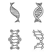 DNA strands linear icons set. Deoxyribonucleic, nucleic acid helix. Molecular biology. Genetic code. Genetics. Thin line contour symbols. Isolated vector outline illustrations. Editable stroke