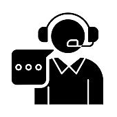 Customer support black glyph icon. Call, contact center. Telephone consultant. Phone operator. Helpline manager. Consultation. Silhouette symbol on white space. Vector isolated illustration