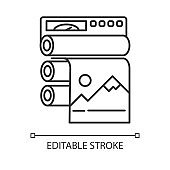 Publishing industry linear icon. Professional printing equipment. Paper press. Polygraphy production. Thin line illustration. Contour symbol. Vector isolated outline drawing. Editable stroke