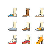 Women and men shoes color icons set. Female summer and autumn elegant footwear. Wedges, loafers and trainers. Fashionable winter and fall season unisex boots. Isolated vector illustrations