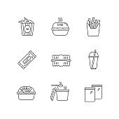 Takeaway food pixel perfect linear icons set. Wings bucket, burger box, french fries. Takeout meal packages. Customizable thin line symbols. Isolated vector outline illustrations. Editable stroke