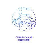 Outreach app ecosystem concept icon