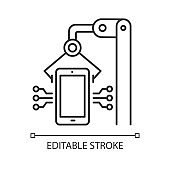 Electronics industry linear icon. Smartphone and tablet production. Electronic devices. Hardware repair. Thin line illustration. Contour symbol. Vector isolated outline drawing. Editable stroke