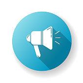 Loudspeaker blue flat design long shadow glyph icon. Alert with megaphone. Publical promotion. Broadcast audio. Shout propaganda. Volume of sound. Silhouette RGB color illustration