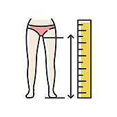 Inside leg length RGB color icon. Human body measurements, tailoring. Clothing size specification, parameters for bespoke pants. Isolated vector illustration