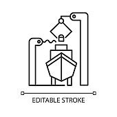 Shipbuilding industry linear icon. Ship fixing and repairing. Nautical vehicle technical construction. Thin line illustration. Contour symbol. Vector isolated outline drawing. Editable stroke