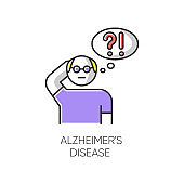 Alzheimer's disease color icon. Dementia. Memory loss. Trouble with thinking. Illness from old age. Elderly person. Mental disorder. Clinical psychology. Neurology. Isolated vector illustration