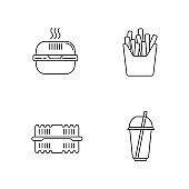 Takeaway food packages pixel perfect linear icons set. Customizable line symbols. Burger cardboard box, container, cup with straw, french fries pack. Vector isolated outline drawing. Editable strokes