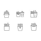 French fries pixel perfect linear icons set. Customizable thin line symbols. Fast food cafe menu. Fried potato in paper packages. Take away meal. Vector isolated outline drawin. Editable strokes