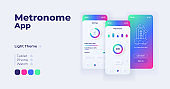 Metronome application cartoon smartphone interface vector templates set. Mobile app screen page day mode design. Volume and rhythm settings UI for application. Phone display with flat character