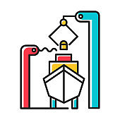 Shipbuilding industry color icon. Boat mechanical maintenance. Ship fixing and repairing. Nautical vehicle technical construction. Professional engineering equipment. Isolated vector illustration