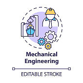Mechanical engineering concept icon. Nautical industry worker. Ship repair. Marine vessel maintenance idea thin line illustration. Vector isolated outline RGB color drawing. Editable stroke