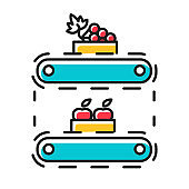 Fruit production color icon. Apples and grape in crates on conveyor belt. Organic food supply. Storage, stock, terminal. Professional automated factory equipment. Isolated vector illustration