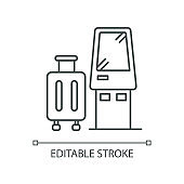 Check in kiosk pixel perfect linear icon. Self serving terminal. Confirm suitcases before flight. Thin line customizable illustration. Contour symbol. Vector isolated outline drawing. Editable stroke