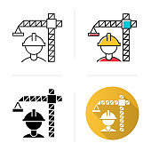Construction industry icon. Building sector. Crane builder in helmet. Industrial engineering. Real estate development. Flat design, linear and color styles. Isolated vector illustrations