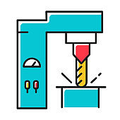 Steel industry color icon. Metal and iron production technology. Metallurgy. Professional machinery services. Factory equipment. Engineering business. Stock, tube. Isolated vector illustration