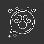 Domestic animals friendly area chalk white icon on black background. Doggy and kitty welcome, pets allowed zone, paw print in speech bubble. Isolated vector chalkboard illustration