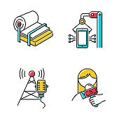 Industry types color icons set. Pulp and paper production. Electronics facility. Broadcasting tower. News and media. Information technology. Person with microphone. Isolated vector illustrations