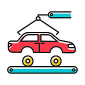 Automotive industry color icon. Car production. Vehicle factory. Automobile repair and fix services. Auto facility with crane and conveyor. Machinery, maintenance. Isolated vector illustration