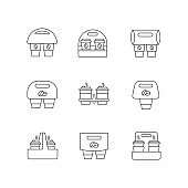 Paper cup holders pixel perfect linear icons set. Customizable thin line contour symbols. Coffee to go packages. Takeaway cardboard carriers. Vector isolated outline drawing. Editable strokes