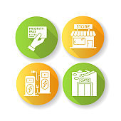 Airport terminal flat design long shadow glyph icons set. Duty free shop. Power recharge kiosk. Aircraft gate window. Ticket for plane. Priority pass. Silhouette RGB color illustration