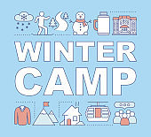 Winter camp word concepts banner.Ski resort. Wintersports and mountain activities. Presentation, website. Isolated lettering typography idea with linear icons. Vector outline illustration