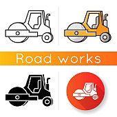 Road roller icon. Compactor type vehicle for construction works. Roadworks transportation. Heavy machinery for paving. Linear black and RGB color styles. Isolated vector illustrations