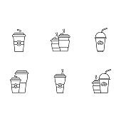 Coffee to go pixel perfect linear icons set. Customizable thin line symbols. Disposable plastic cups with caffeine drinks. Latte, cappuccino mugs. Vector isolated outline drawing. Editable strokes