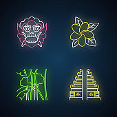 Indonesia neon light icons set. Tropical country plants. Vacation in Indonesian islands. Exploring exotic traditions. Unique flora. Bali sightseeing. Glowing signs. Vector isolated illustrations