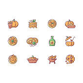Pumpkin recipes RGB color icons set