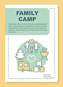 Parenthood camp vacation, holiday  brochure template layout. Flyer, booklet, leaflet print design with linear illustrations. Vector page layouts for magazines, annual reports, advertising posters