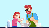 Cooking daddy and daughter, people making pastry semi flat RGB color vector illustration. Parent and child mixing dough ingredients, smiling family isolated cartoon characters on blue background