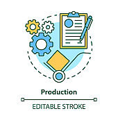 Production concept icon. Manufacturing process idea thin line illustration. Industrial sector. Engineering. Product fabrication. Primary industry. Vector isolated outline drawing. Editable stroke