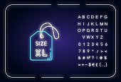 Extra large size label neon light icon