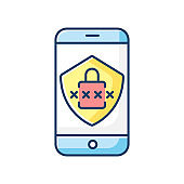 Smartphone security RGB color icon