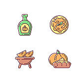 Homemade food RGB color icons set