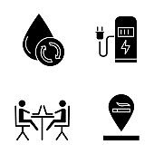 Apartment amenities glyph icons set. Water filtration, car charging station, coworking space, smoking allowed. Comfortable house. Residential services. Silhouette symbols. Vector isolated illustration