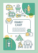Family, parents and children camp brochure template layout. Flyer, booklet, leaflet print design with linear illustrations. Vector page layouts for magazines, annual reports, advertising posters